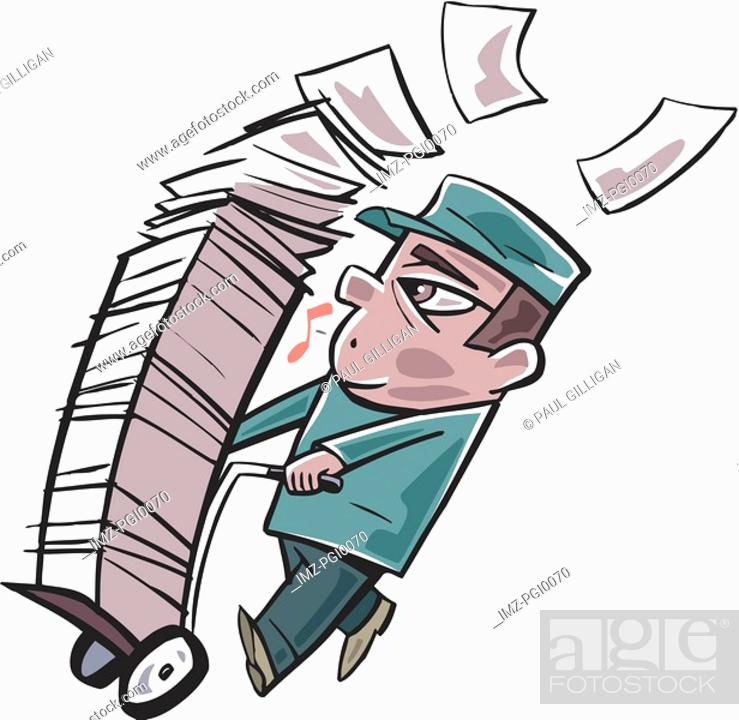 Stock Photo: man carting around a large stack of paper on a trolly.