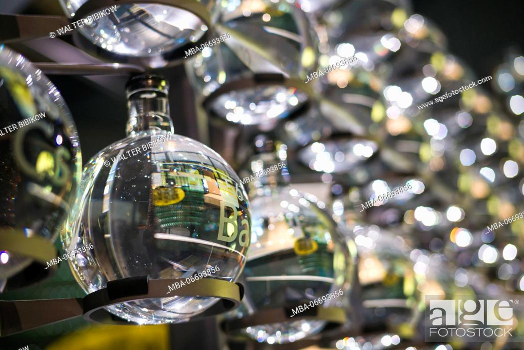 Stock Photo: USA, New York, Finger Lakes Region, Corning, Corning Museum of Glass, glass globes representing chemical elements.