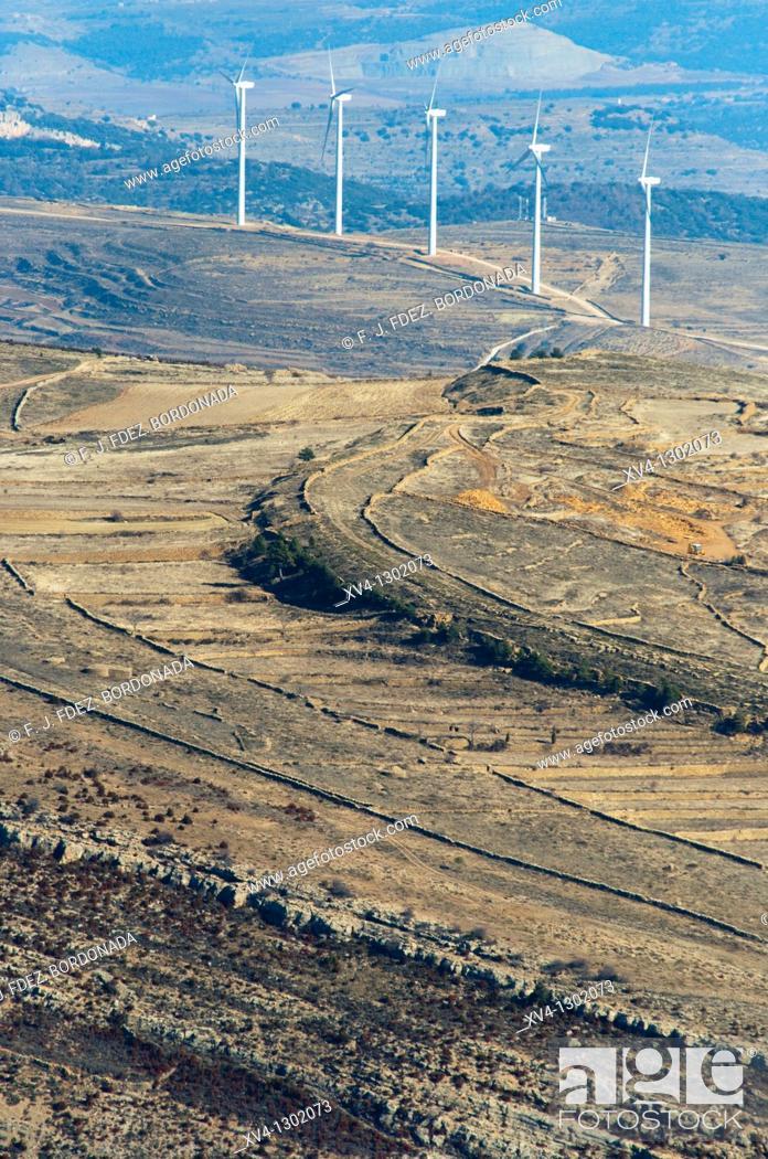 Stock Photo: Windmills in Cantavieja, Teruel  Province, Aragon, Spain.
