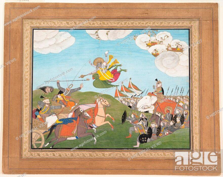 Photo de stock: Vishnu as Varaha, the Boar Avatar, Slays Banasur, A Demon General: Page from an Unknown Manuscript. Date: ca.1800; Culture: India (Punjab Hills.