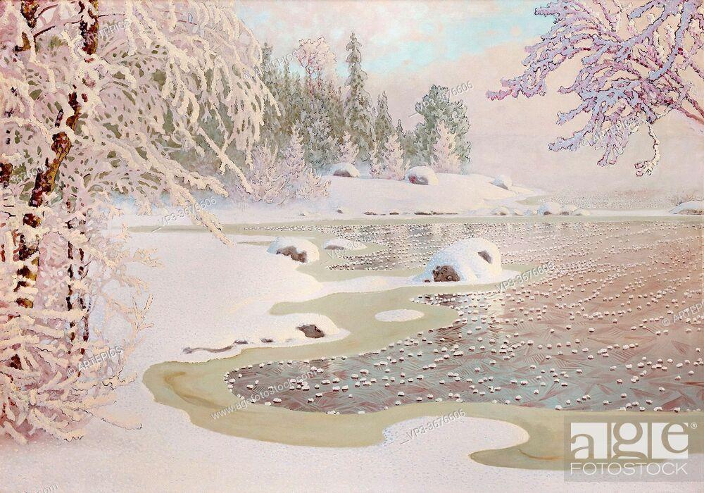 Stock Photo: Fjaestad Gustaf - Winter Landscape 3 - Swedish School - 19th Century.