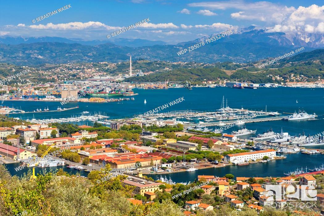 Stock Photo: View of Porto della Spezia and Golfo della Spezia from Campiglia village, Province of La Spezia, Liguria, Italy, Europe,.