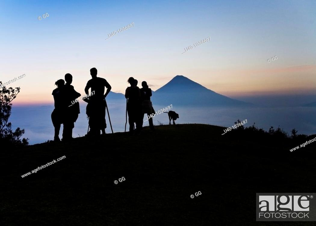 Stock Photo: Hikers at sunset.