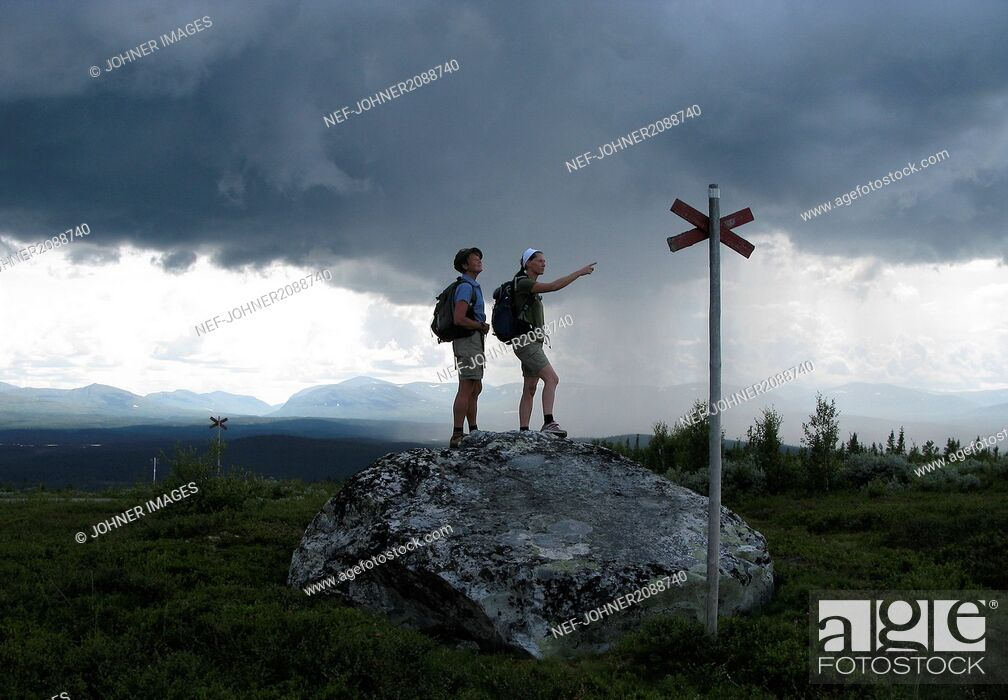 Stock Photo: Two woman hiking.
