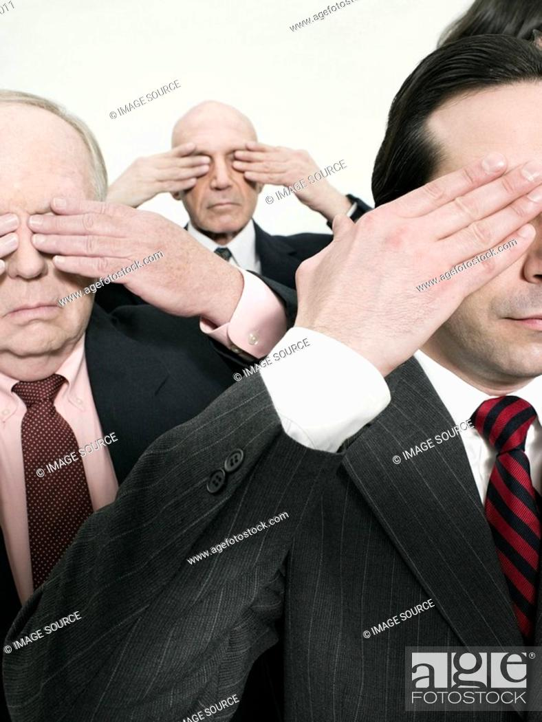 Stock Photo: Businessmen covering eyes.
