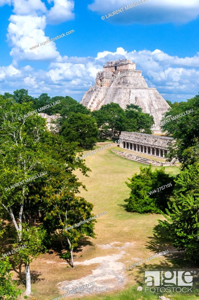 Stock Photo: The Pyramid of the Magician, Uxmal Mayan Archaeological site, State of Yucatan, Mexico, North America.