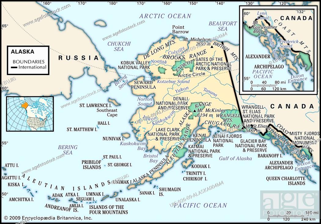 Physical Map Of The State Of Alaska With An Inset Of The Coast
