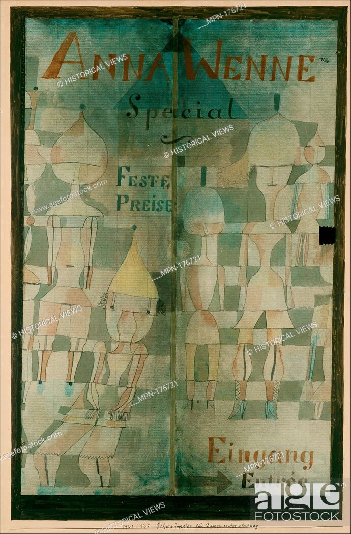 Stock Photo: Window Display for Lingerie. Artist: Paul Klee (German (born Switzerland), Münchenbuchsee 1879-1940 Muralto-Locarno); Date: 1922; Medium: Watercolor and ink on.