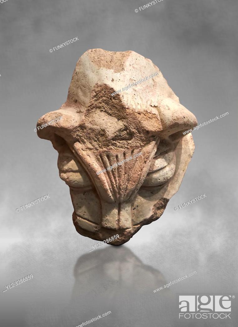 Stock Photo: Hittite terra cotta head of a lion. Hittite Period 1650 - 1450 BC, Ortakoy Sapinuva . Çorum Archaeological Museum, Corum, Turkey.