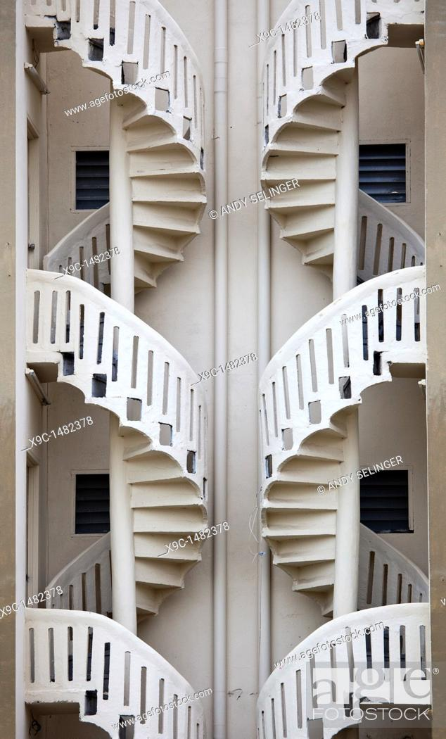 Stock Photo: Twin Spiral Staircases.