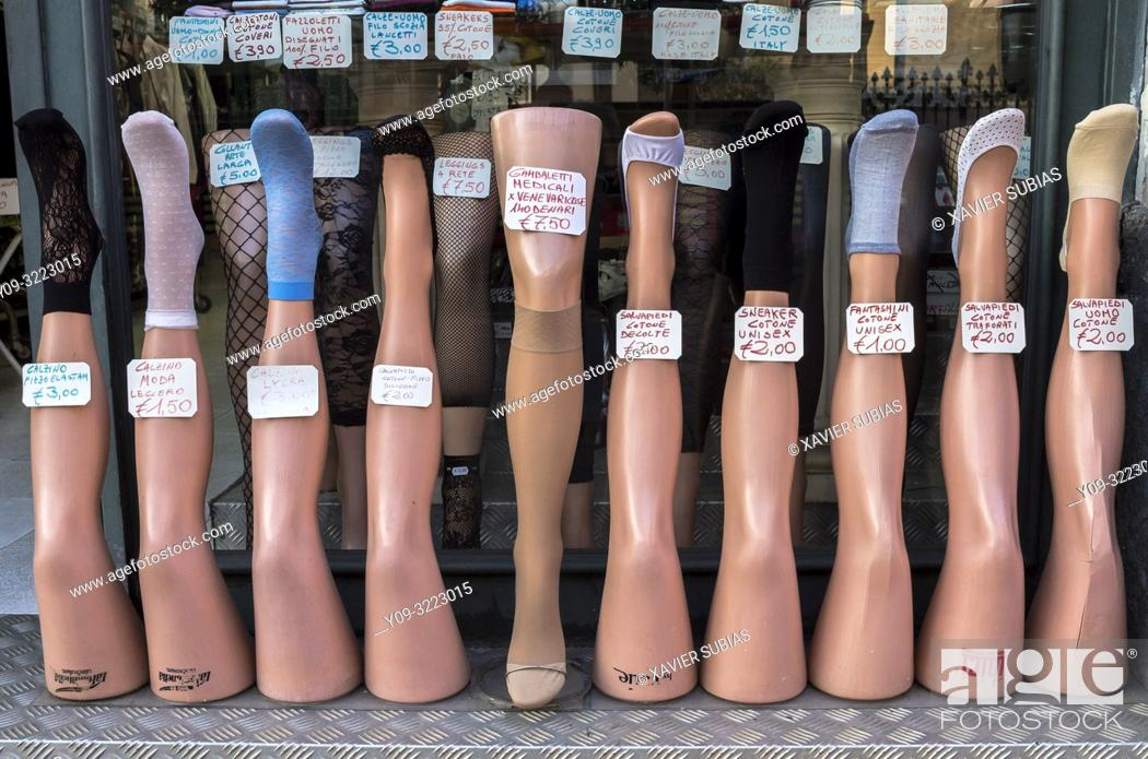 Stock Photo: Legs, Haberdashery, Catania, Sicily, Italy.