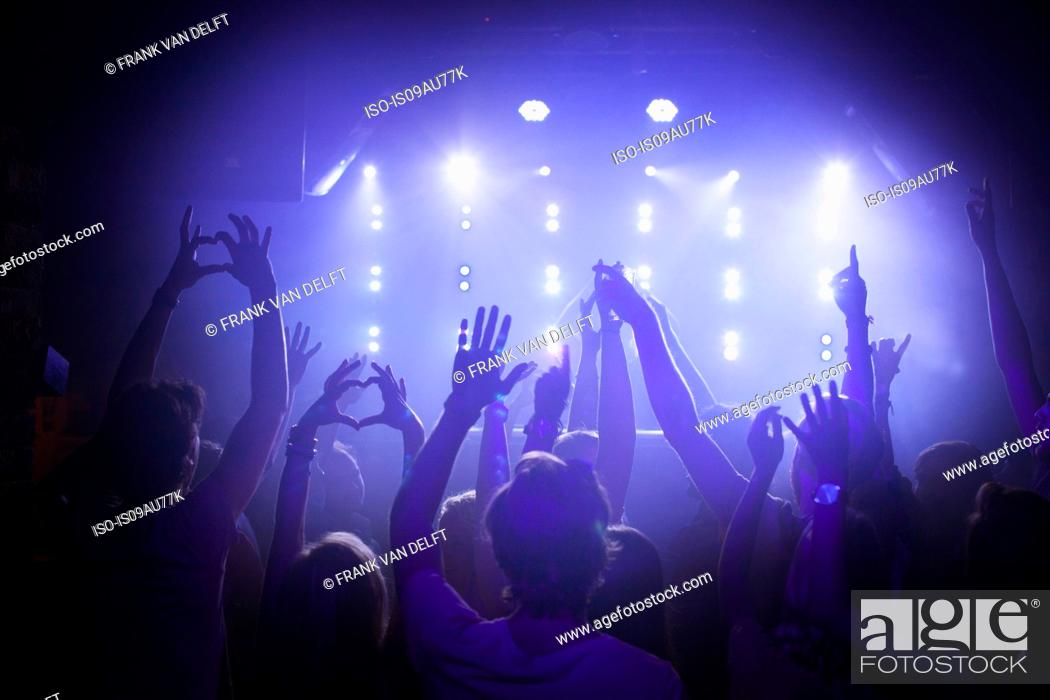 Stock Photo: Group of friends watching performance in club.