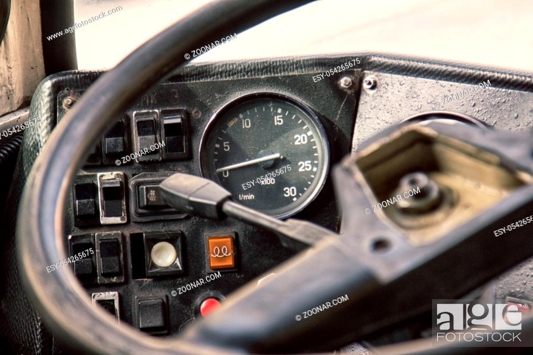 Stock Photo: cabin control old vintage bus close up. vehicles of last century.