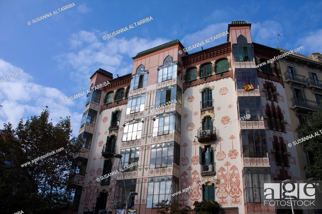 Stock Photo: Casa Manuel Llopis Bofill, Bailen street nº 113 in Barcelona. Building in 1902 of Antonio Maria Gallissà Soqué, engravings of Josep Maria Jujol.