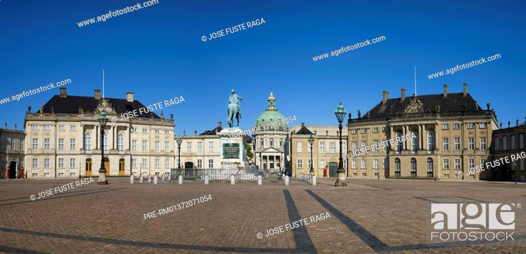 Stock Photo: Equestrian monument with Palais Moltke and Amalienborg castle in Copenhague city, Denmark, Europe.