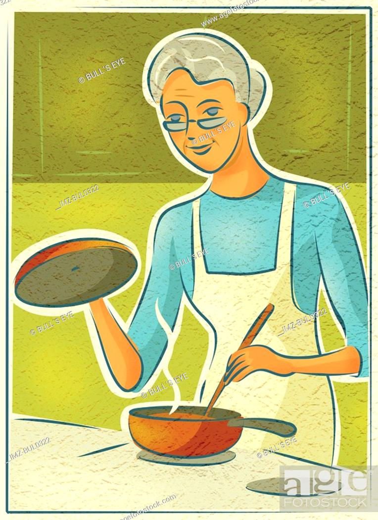 Stock Photo: An elderly woman cooking on the stove.