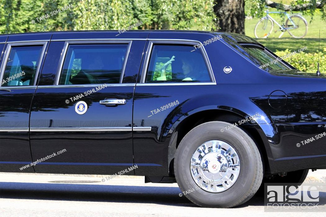 Stock Photo: Helsinki, Finland. July 15, 2018. First Lady Melania Trump waves to the crowd from the Presidential State Car on the day of Helsinki 2018 meeting.