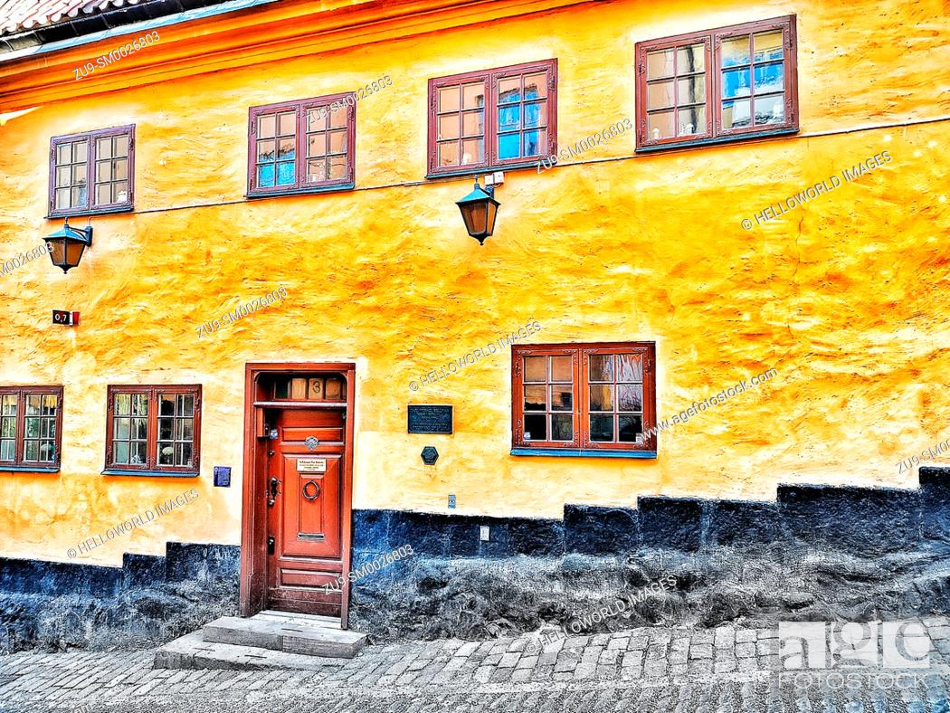 Stock Photo: Bellmanhuset - The Bellman House the home of poet Carl Michael Bellman from 1770 to 1774, Sodermalm, Stockholm, Sweden, Scandinavia.