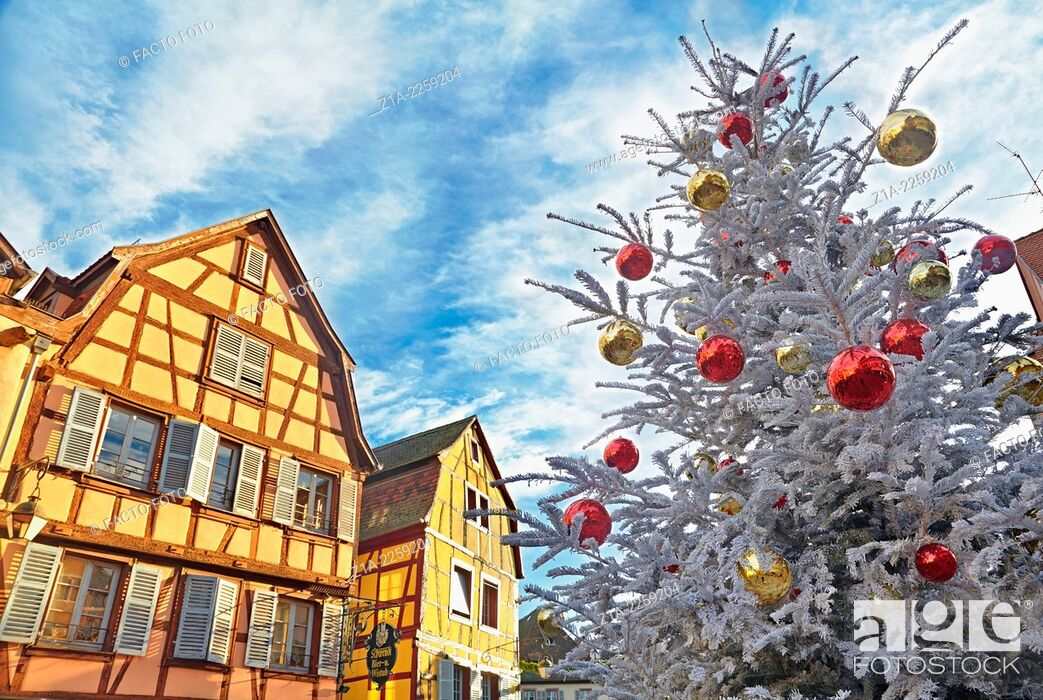 Stock Photo: Typical half-timbering houses at Christmas time. Colmar. Wine route. Haut-Rhin. Alsace. France.