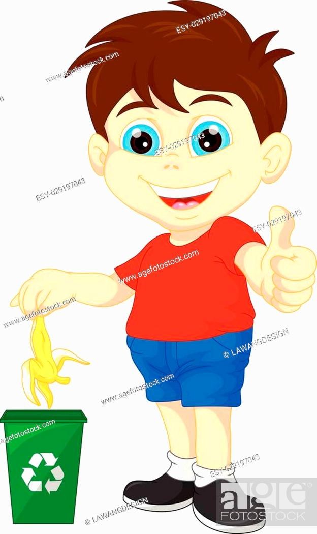 Stock Vector: vector illustration of little boy recycling organic waste.