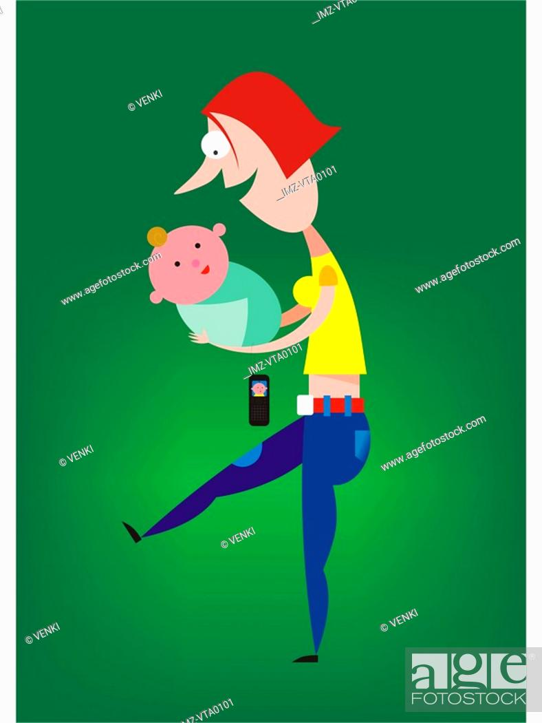 Stock Photo: A woman carrying a baby with a cell phone with a picture of the baby on the screen.