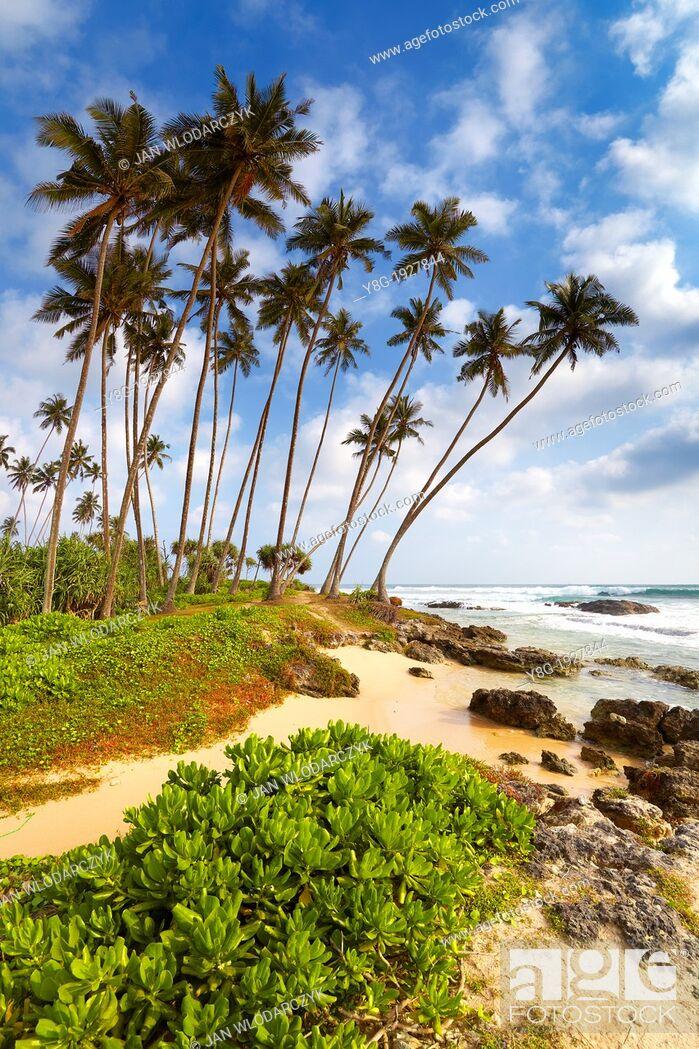 Stock Photo: Sri Lanka - Koggala beach, village near Galle, Indian Ocean coast, Asia.