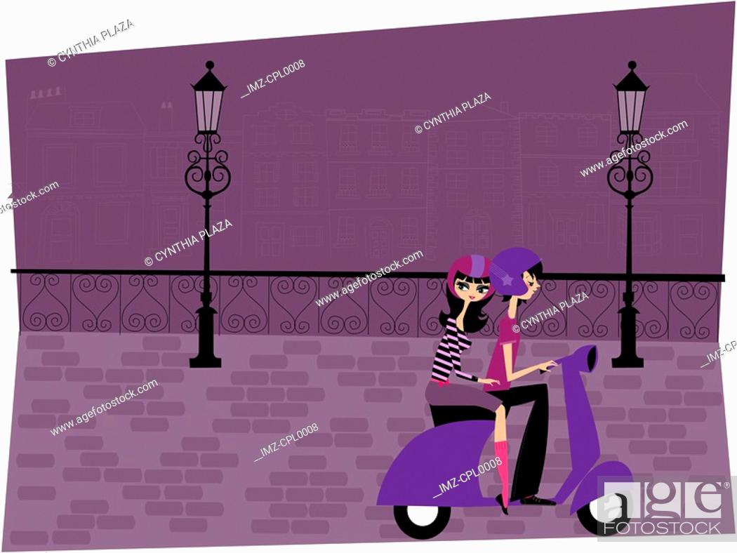 Stock Photo: A couple riding a moped together down a street at night.