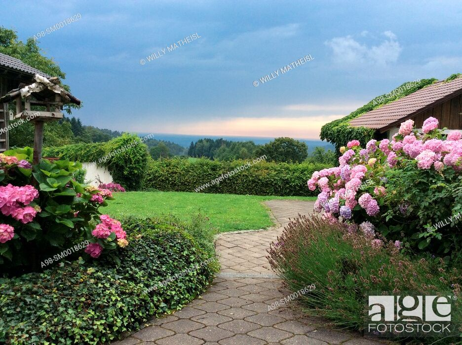 Imagen: aproaching bad weather over path leading to farmhouse with hydrangea plants in the countryside of Lower Bavaria, Germany, Europe.