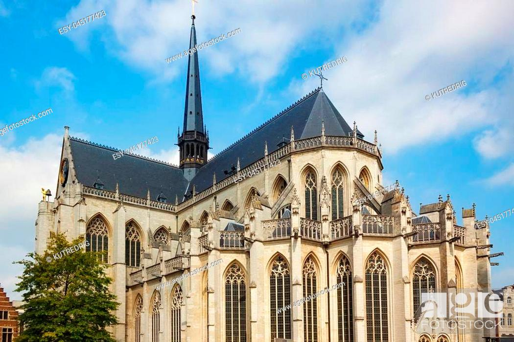Stock Photo: View of the Saint Peter's Church of Leuven, Flemish Brabant, Belgium. Built mainly in the 15th century in Brabantine Gothic style.
