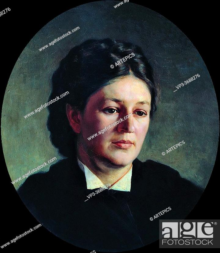 Stock Photo: Yaroshenko Nikolai - Portrait of Maria Yaroshenko the Artist's Wife - Russian School - 19th and Early 20th Century.