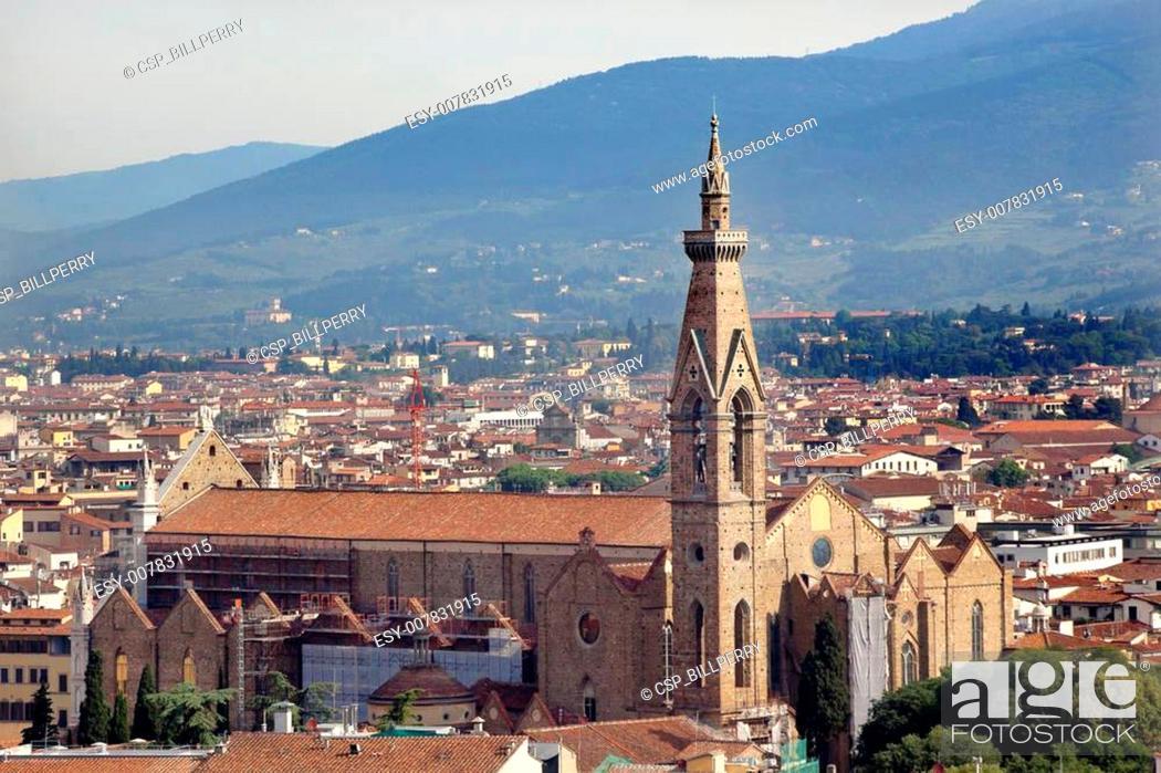 Stock Photo: Badia Bargello Basilica Santa Croce Rooftops Florence Italy.