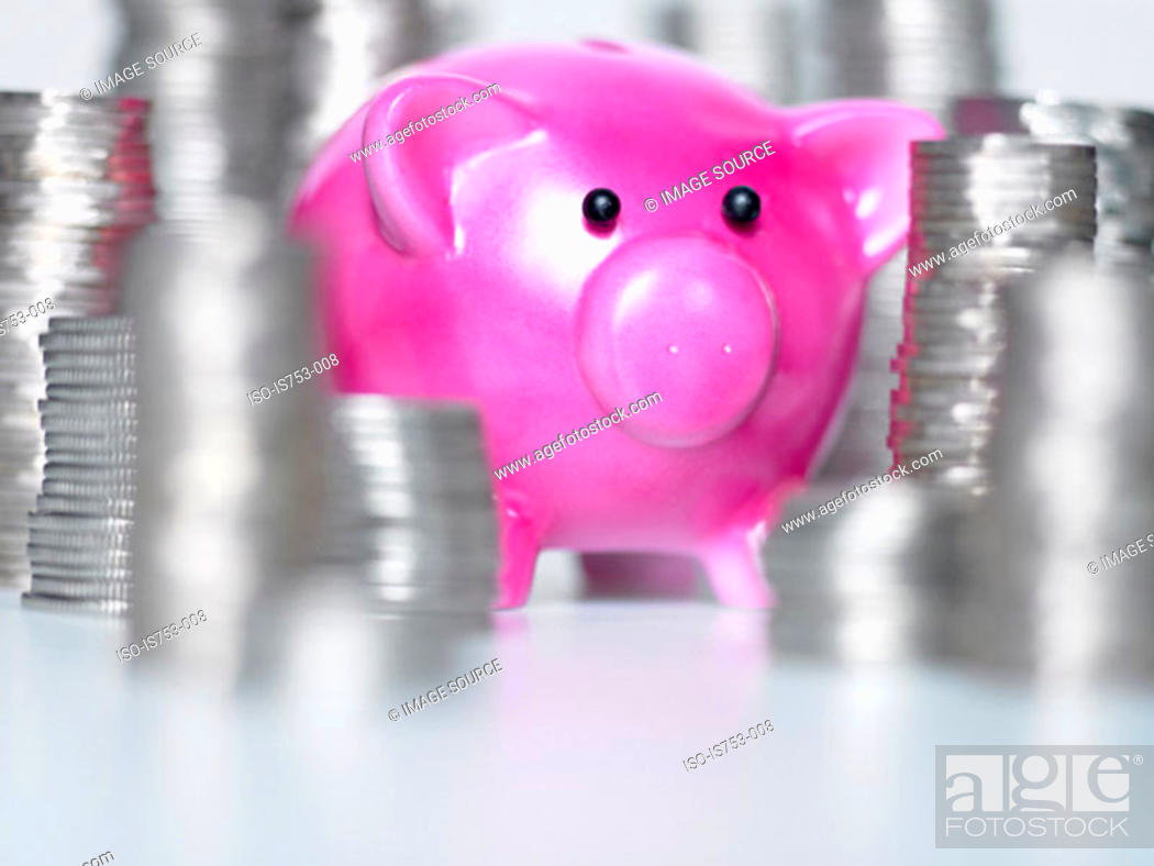 Stock Photo: Piggy bank and stacks of coins.