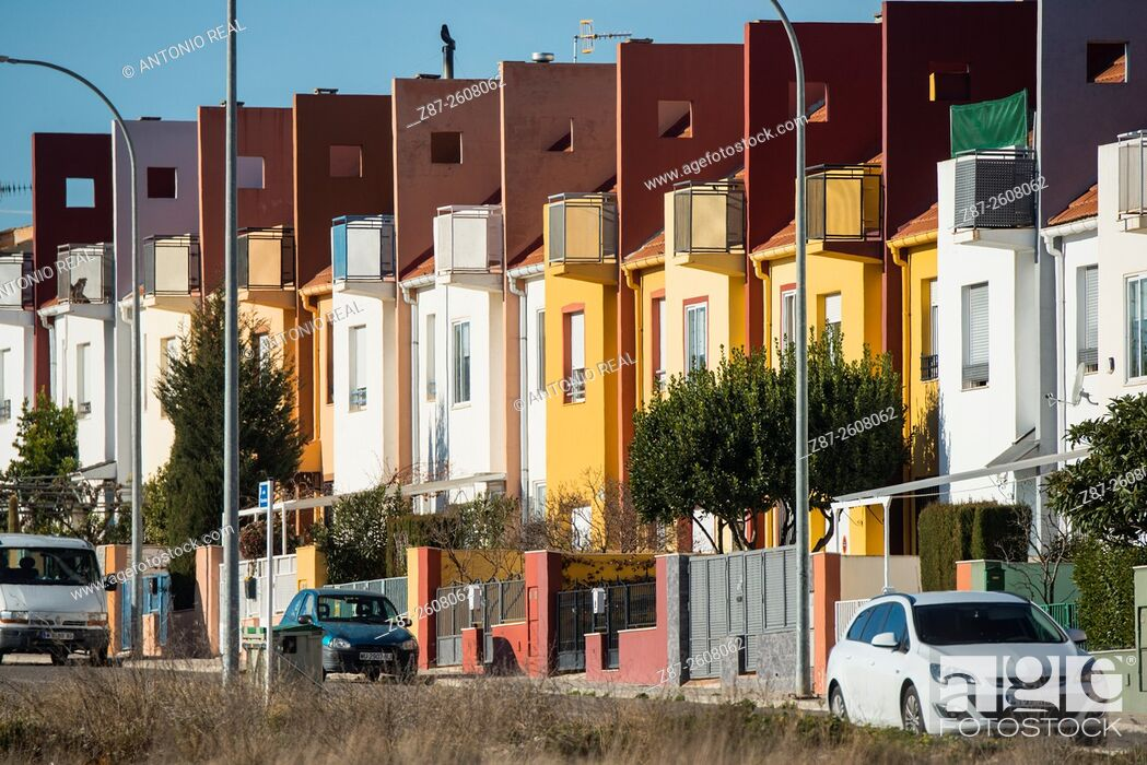 Stock Photo: Housing, Almansa, Albacete province, Castilla-La Mancha, Spain.