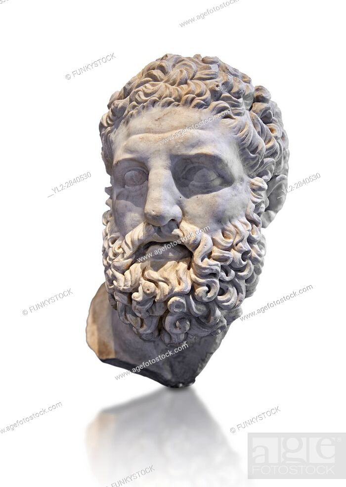 Stock Photo: Roman sculpture head of Hercules, mid 2nd cent AD excavated from the Vale Giardino, Nemi. The National Roman Museum, Rome, Italy.