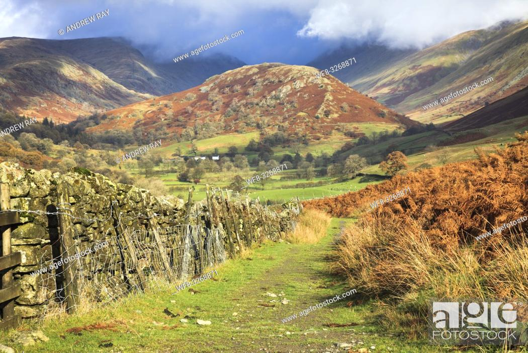 Stock Photo: The Tongue in the Troutbeck Valley in the Lake District National Park, captured in early November from the public footpath that runs along the eastern side of.