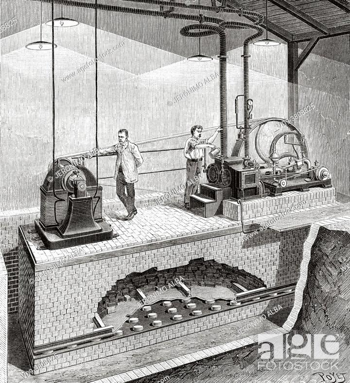 Stock Photo: Elastic suspension of machines. Application to an electrical plant in the Faubourg Saint-Denis in Paris. France, Europe. Old 19th century engraved illustration.