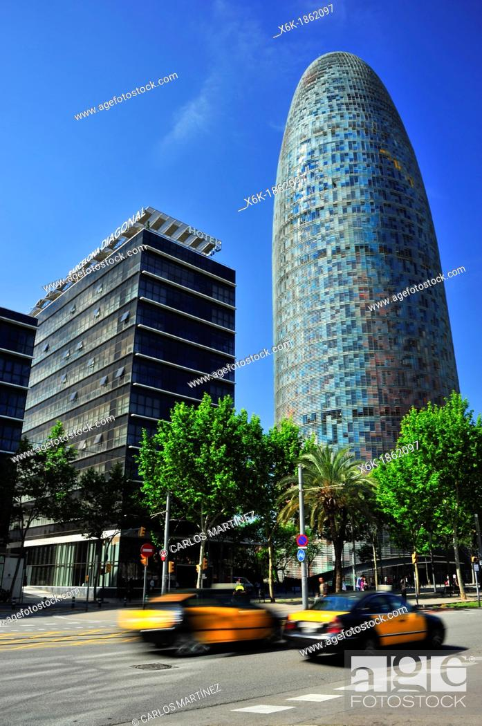 Stock Photo: Agbar tower by Jean Nouvel, 22 @ district, Barcelona, Catalonia, Spain.