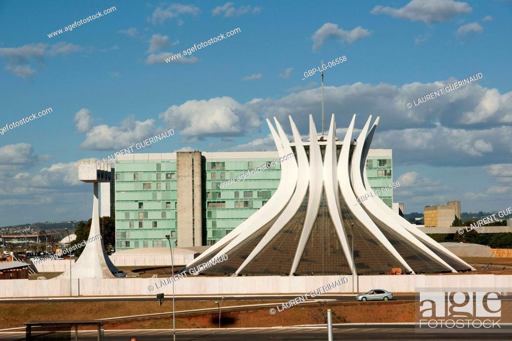 Stock Photo: Metropolitan cathedral Ours Mrs. Aparecida, city, Distrito Federal, Brasília, Brazil.