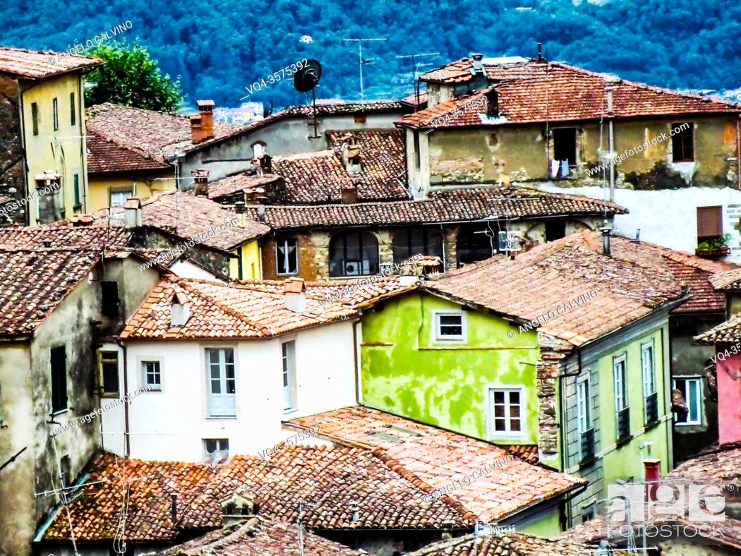 Stock Photo: Skyline view of Barga a medieval hilltop town in Tuscany, Italy, Europe. Garfagnana, Tuscany, Italy, Europe.