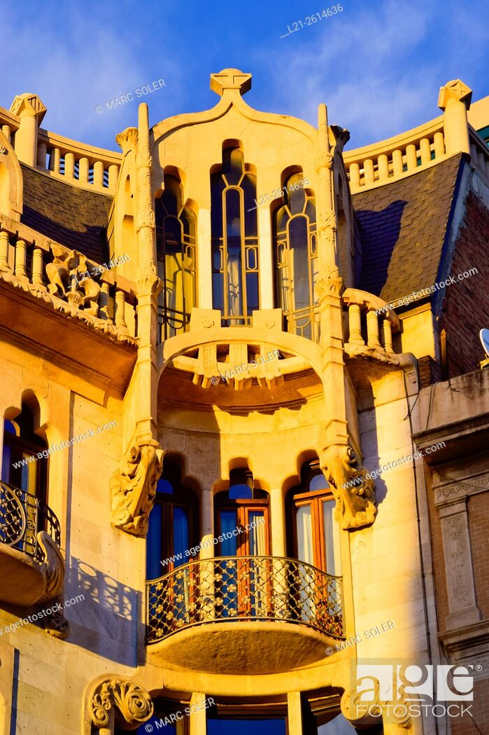 Stock Photo: Detail, balconies and windows. Hotel Casa Fuster. Designed by Lluís Domènech i Montaner architect between 1908 and 1910. Gracia quarter, Barcelona, Catalonia.
