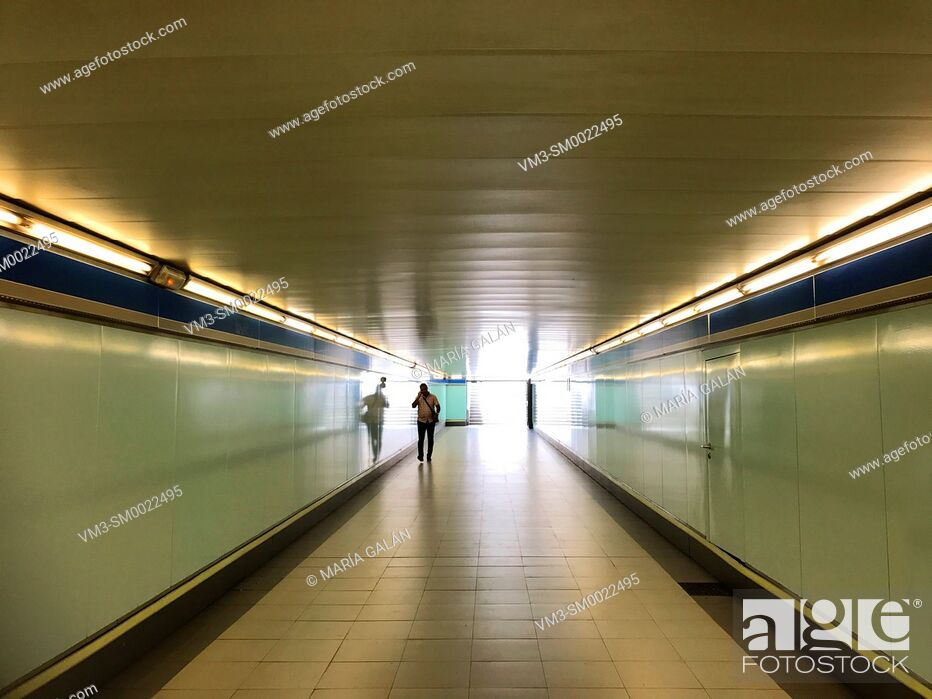 Stock Photo: Passage. Metro station. Madrid, Spain.