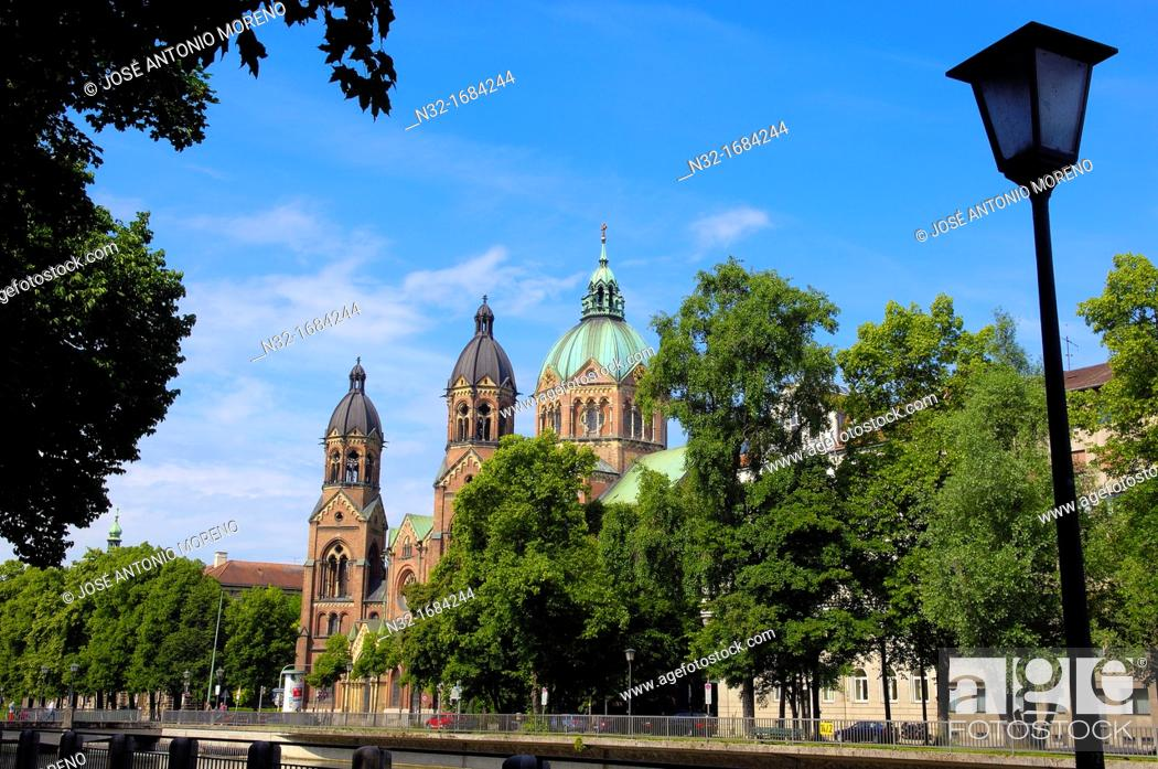 Stock Photo: Lukaskirche (St Lukas Church) by Isar river, Munich, Bavaria, Germany, Europe.