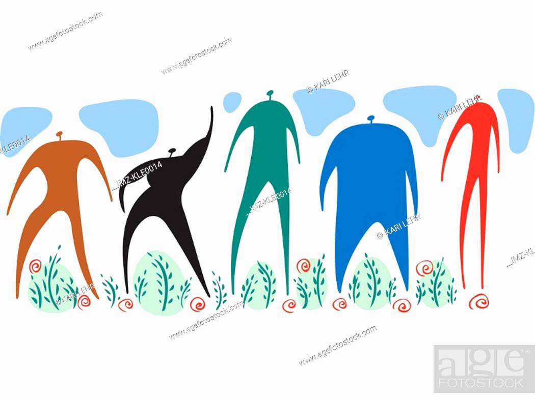 Stock Photo: Men of different colors,shapes and sizes standing together.