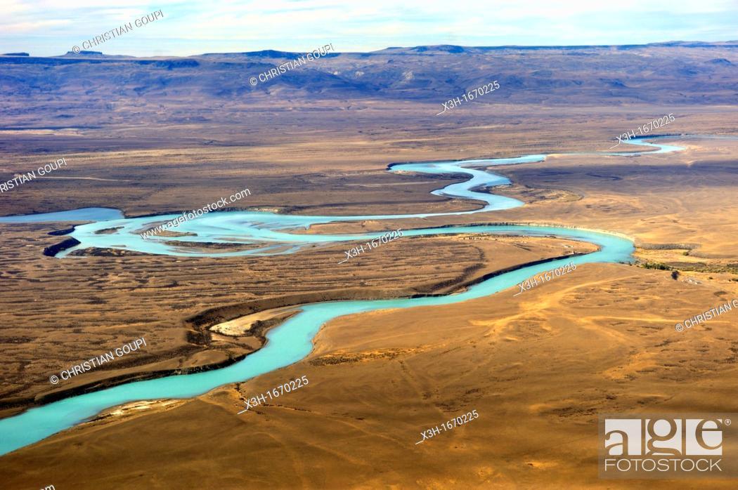 Stock Photo: aerial view of the Santa Cruz River around El Calafate, Patagonia, Argentina, South America.