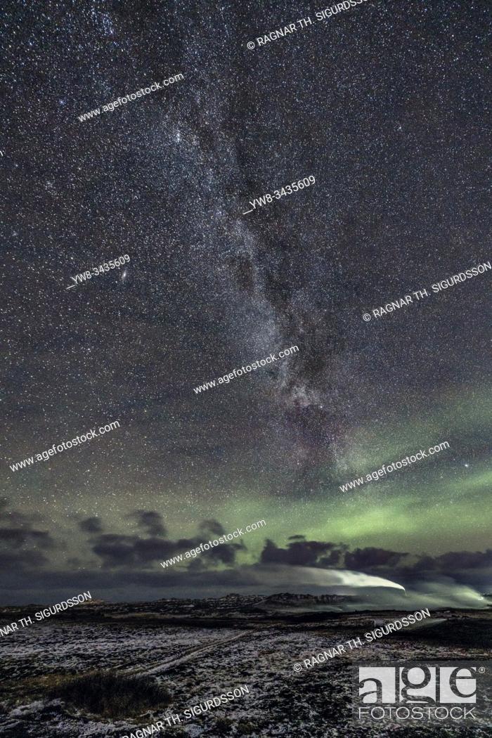 Stock Photo: Aurora Borealis and Milky Way, Gunnuhver hot spring, Hitaveita Sudurnesja Geothermal Power Plant, Iceland.