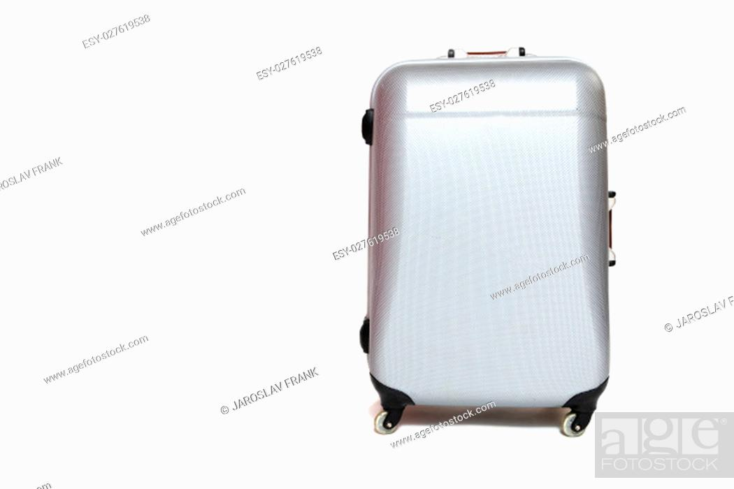 Stock Photo: Front view of the silver shell suitcase standing on the white background.