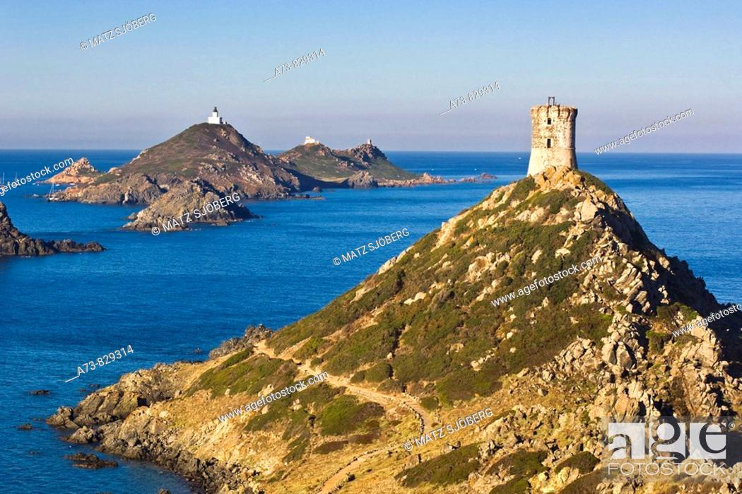 Stock Photo: Parata Point and Sanguinaires Islands. Corse-du-Sud, Corsica Island, France.