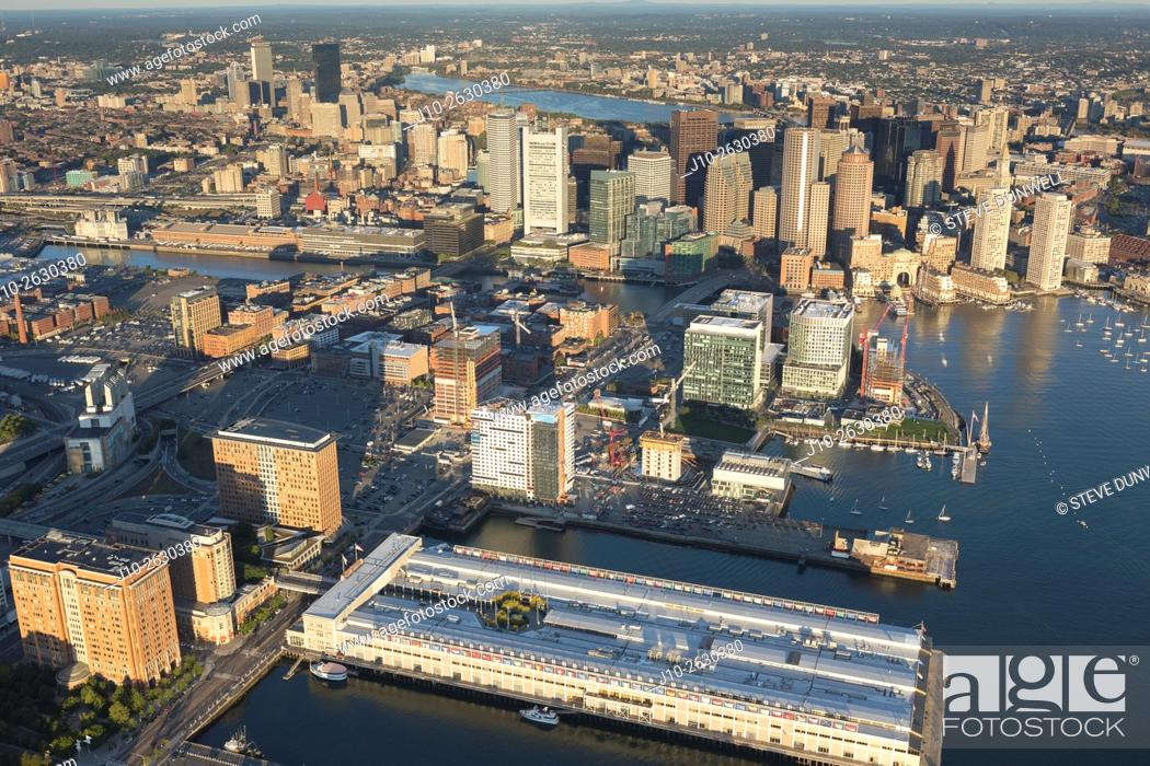 Stock Photo: Aerial view of South Boston waterfront, Fan Pier area, Boston, MA showing construction in the Seaport District. (view to north-west), USA.