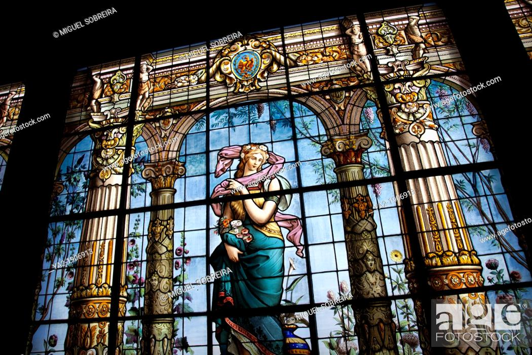 Stock Photo: Stained Glass Gallery at Chapultepec Castle in Mexico City DF - Bathroom.