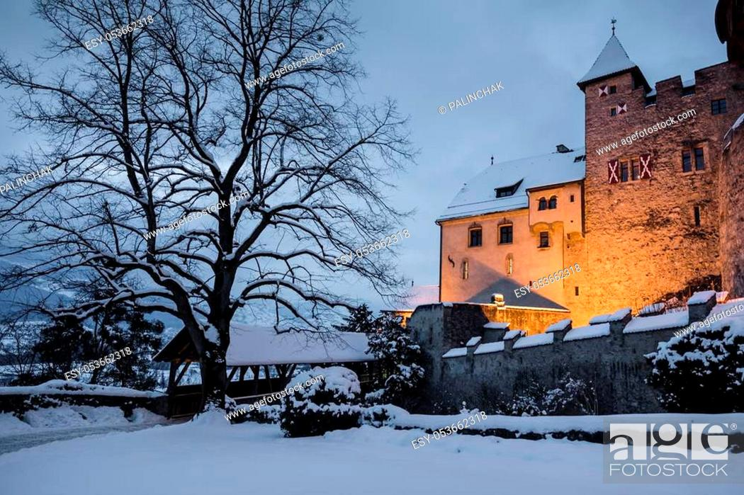 Stock Photo: Old medieval castle in Vaduz, Liechtenstein. Vintage landmark. Vaduz Castle is the palace and official residence of the Prince of Liechtenstein.